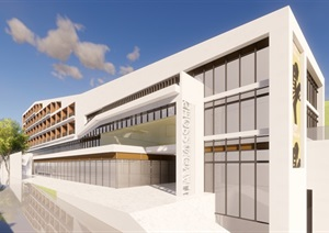 某市縣中醫院 酒店商業街 山地現代 模型