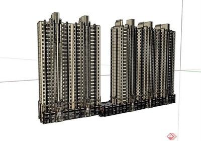 商业住宅高层建筑设计楼su模型