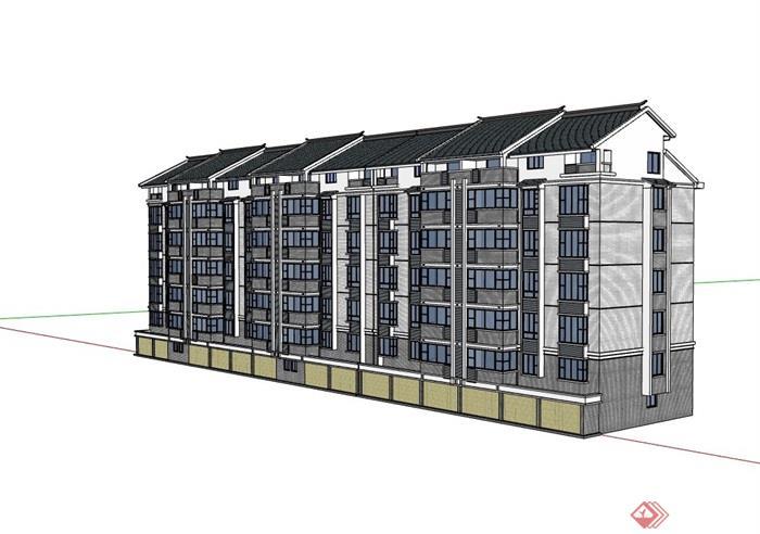 完整的中式住宅建筑设计楼su模型