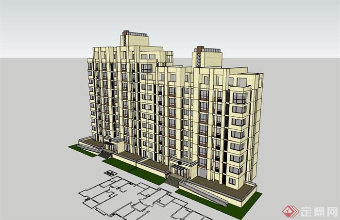 现代小高层住宅建筑设计楼su模型