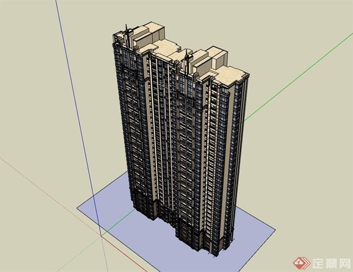 完整的现代住宅建筑设计楼su模型