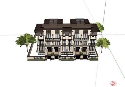 欧式联排小区别墅住宅建筑设计楼su模型