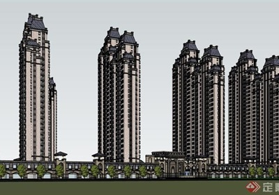 小区完整的住宅建筑设计楼su模型
