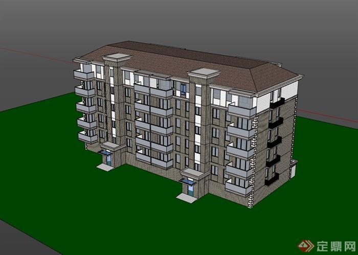 完整的欧式多层住宅建筑设计楼su模型