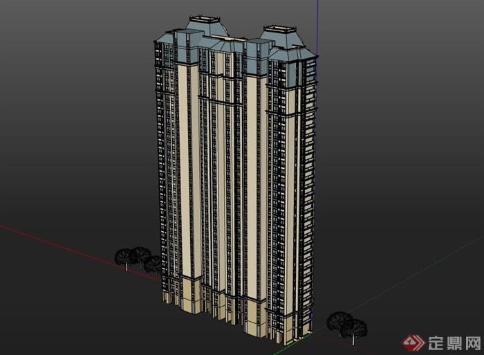 高层完整欧式住宅建筑设计楼su模型
