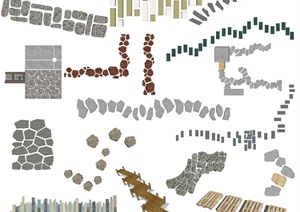 新中式景觀小路 石頭小路SU(草圖大師)模型