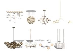 現代吊燈 燈具組合SU(草圖大師)模型