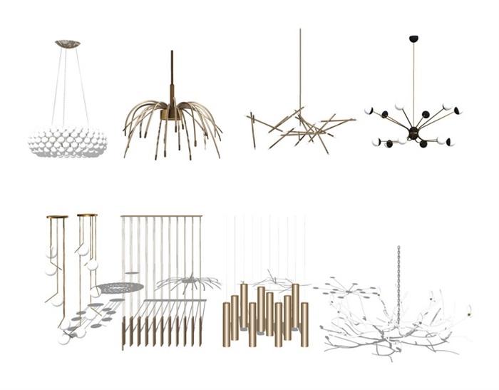 现代吊灯 灯具组合su模型(2)