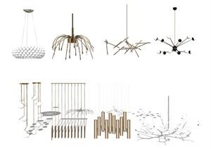 现代吊灯 灯具组合SU(草图大师)模型1
