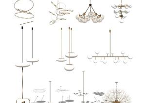 现代吊灯 灯具组合SU(草图大师)模型2
