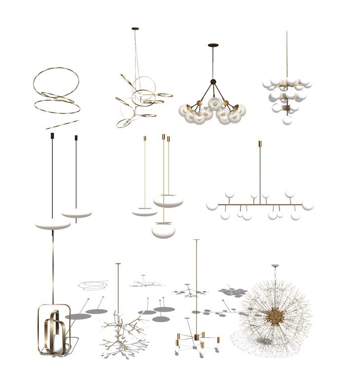 现代吊灯 灯具组合su模型(3)