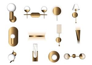 現代壁燈 燈具組合SU(草圖大師)模型1