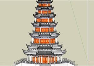 古塔、古寺庙古代建筑SU(草图大师)模型
