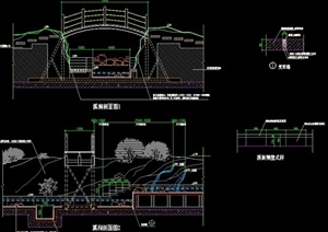 园林现代跌水景观设计cad剖面图