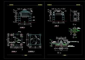 完整的亭子园林节点素材设计cad施工图