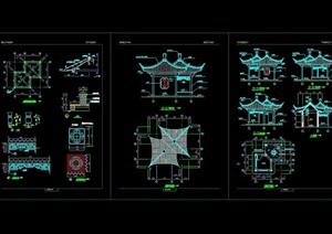 古典中式双亭园林节点素材设计cad施工图