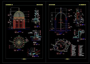 欧式亭子园林节点素材设计cad施工图