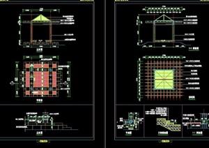中式详细亭子园林节点素材设计cad施工图