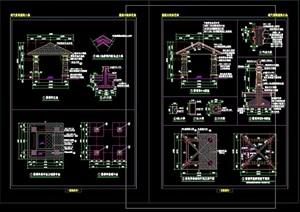 完整详细亭子园林节点素材设计cad施工图