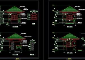 园林亭子节点素材设计cad施工图