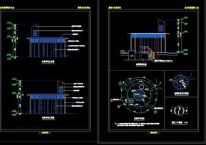 圆形园林玻璃亭节点素材设计cad施工图