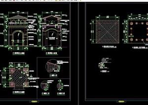 详细的完整园林亭子节点素材设计cad施工图