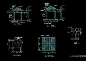 中式详细的园林节点亭子素材设计cad施工图