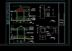 中式独特亭子节点素材设计cad施工图
