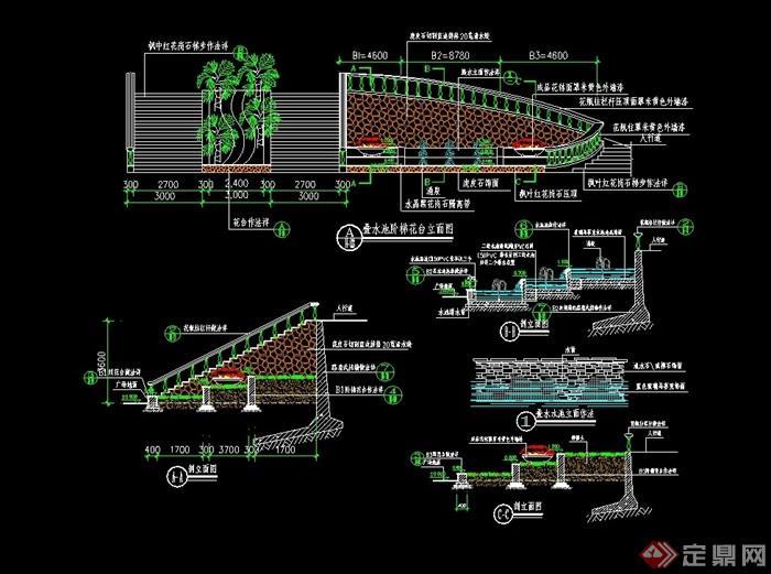 现代叠水大样完整设计cad施工图