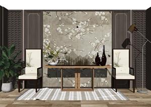 新中式案台 玄关 休闲椅 隔断 背景墙SU(草图大师)模型