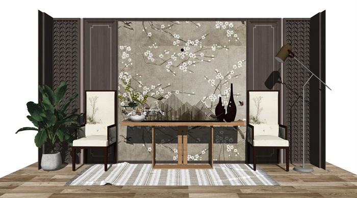 新中式案台 玄关 休闲椅 隔断 背景墙su模型(3)