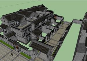 中式院落别墅建筑设计SU(草图大师)模型