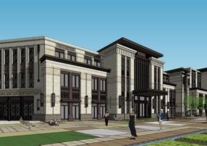 新古典售楼处建筑SU(草图大师)模型
