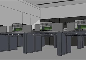 办公区SU(草图大师)模型  办公桌  电脑桌  办公桌结构 办公柜 落地柜 电脑