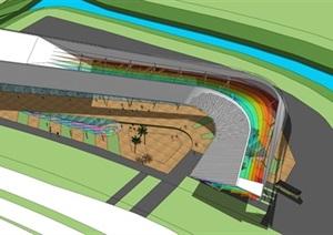 两个客运站建筑方案SU(草图大师)模型