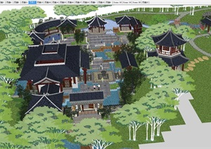 3个古典中式景区分区景观方案SU(草图大师)模型