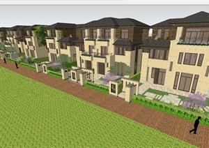景瑞绍兴望府别墅单体SU(草图大师)模型(附建筑规划方案PPT文本 CAD建筑图与户型)