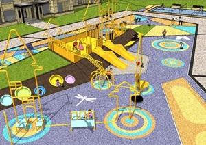 精品住宅小区宅间儿童游乐场及设施SU(草图大师)模型