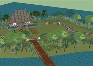 东南亚风格泰式婚礼岛景观设计方案SU(草图大师)模型