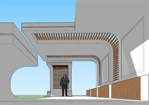 现代廊架景观方案SU(草图大师)模型