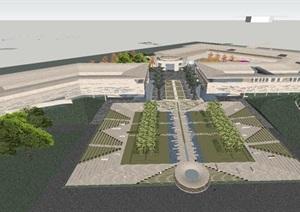 现代风格殡仪馆建筑设计方案SU(草图大师)模型