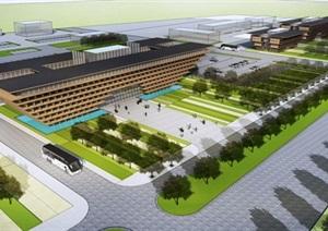 现代风格交通枢纽站建筑概念方案SU(草图大师)模型