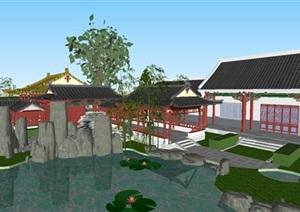 古典中式碑园建筑方案SU(草图大师)模型