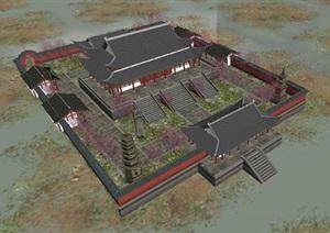 古典中式鹿苑寺建筑方案SU(草图大师)模型
