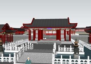 仿古中式三观庙寺庙建筑方案SU(草图大师)模型