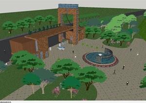2個生態農業園入口大門建筑方案SU(草圖大師)模型