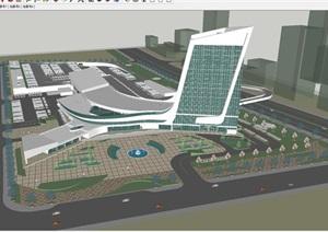 天津现代风格汽车客运站建筑设计方案SU(草图大师)模型