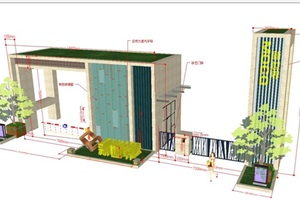 2個新世界小區大門方案SU(草圖大師)模型
