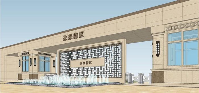 2个朗诗星火未来街区大门方案SU模型(3)