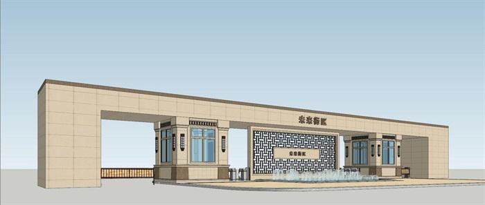 2个朗诗星火未来街区大门方案SU模型(6)